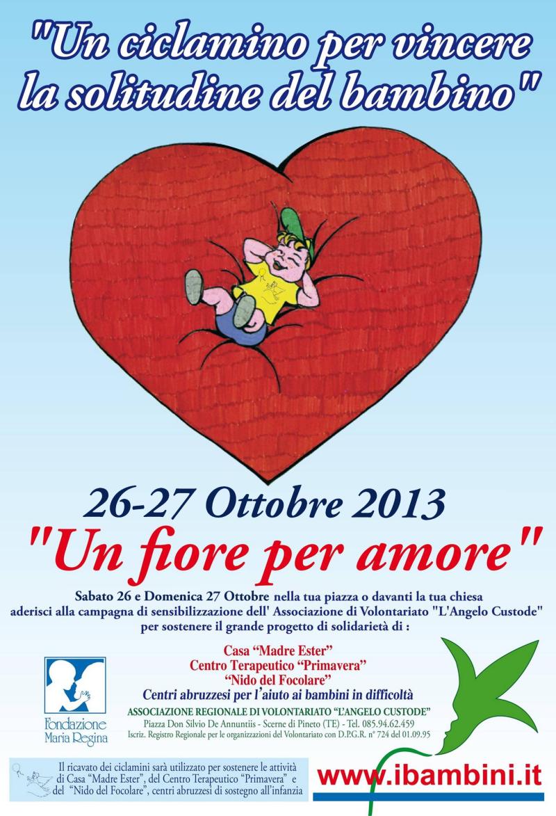 Il 26 e 27 Ottobre un ciclamino per vincere la solitudine del bambino